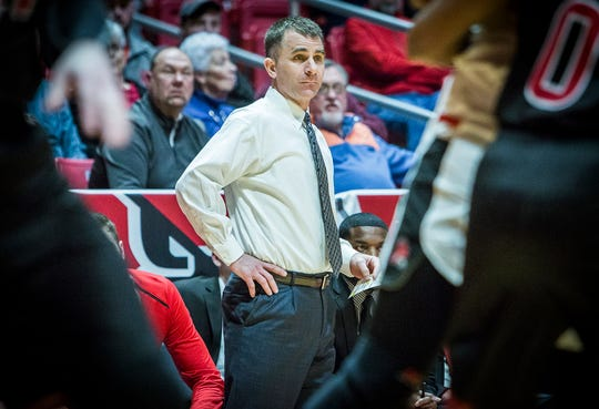 FILE -- Ball State's James Whitford, who enters his seventh year as the Cardinals' coach, coaches against Northern Illinois at Worthen Arena Friday, March 8, 2019. The Cardinals released their full 2019-20 schedule Wednesday.
