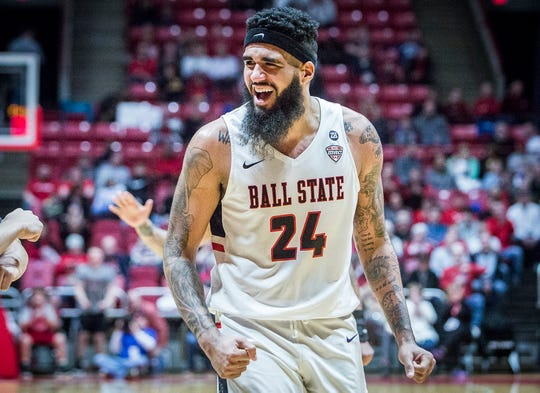 Ball State's Trey Moses reacts during a game against Northern Illinois at Worthen Arena Friday, March 8, 2019.