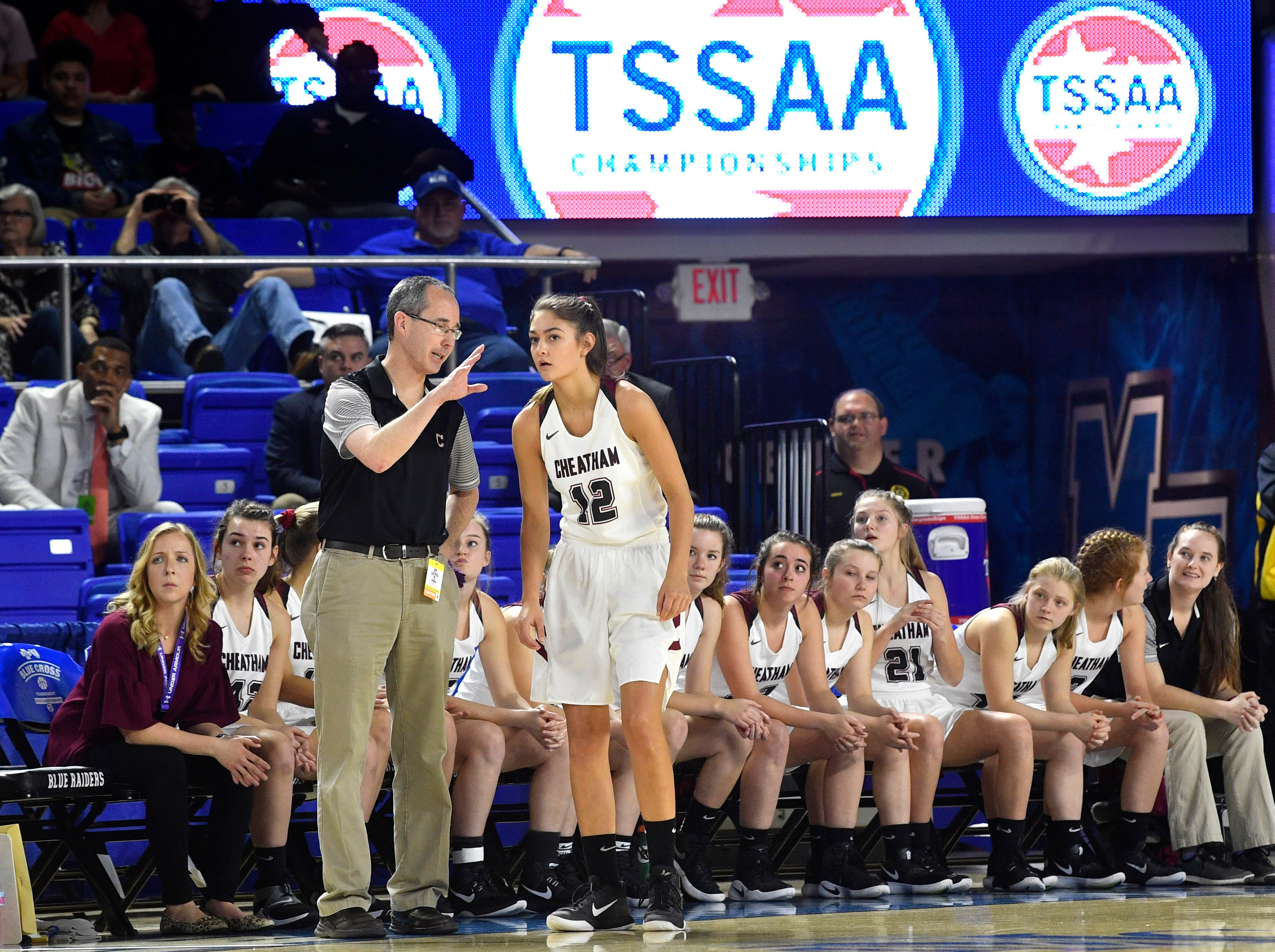 Cheatham County coach Jim Gibbs talks with Cheatham County's Jorden Bumpus (12) as they play Westview in the Class AA Championship Saturday, March 9, 2019, in Murfreesboro, Tenn.