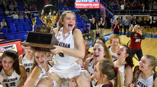 Cheatham County's Eryn Nelson (5) is held on the shoulders of her teammates after Cheatham County defeated Westview 43-40 in the Class AA Championship Saturday, March 9, 2019, in Murfreesboro, Tenn.