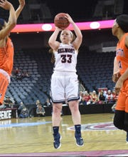 Belmont's Darby Maggard, the Ohio Valley Conference player of the year, puts up a shot against UT-Martin in the conference tournament championship Saturday at Ford Center in Evansville, Ind.
