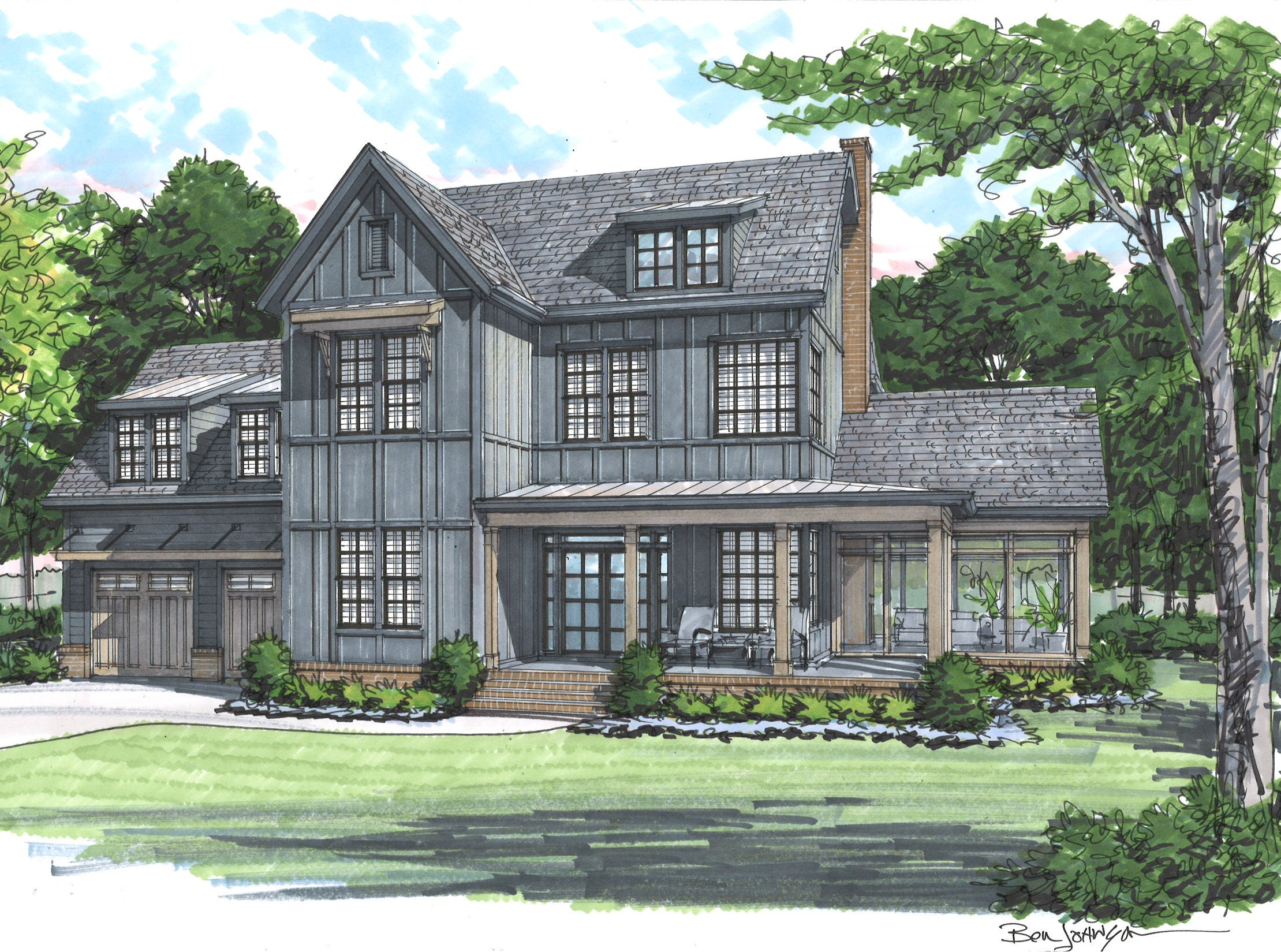 This farmhouse is set to be built by Carbine and Associates in Franklin and unlike its neighboring farmhouses that will be painted white, this one will be painted black thanks to the response from a custom home the builders constructed for a Williamson County family.