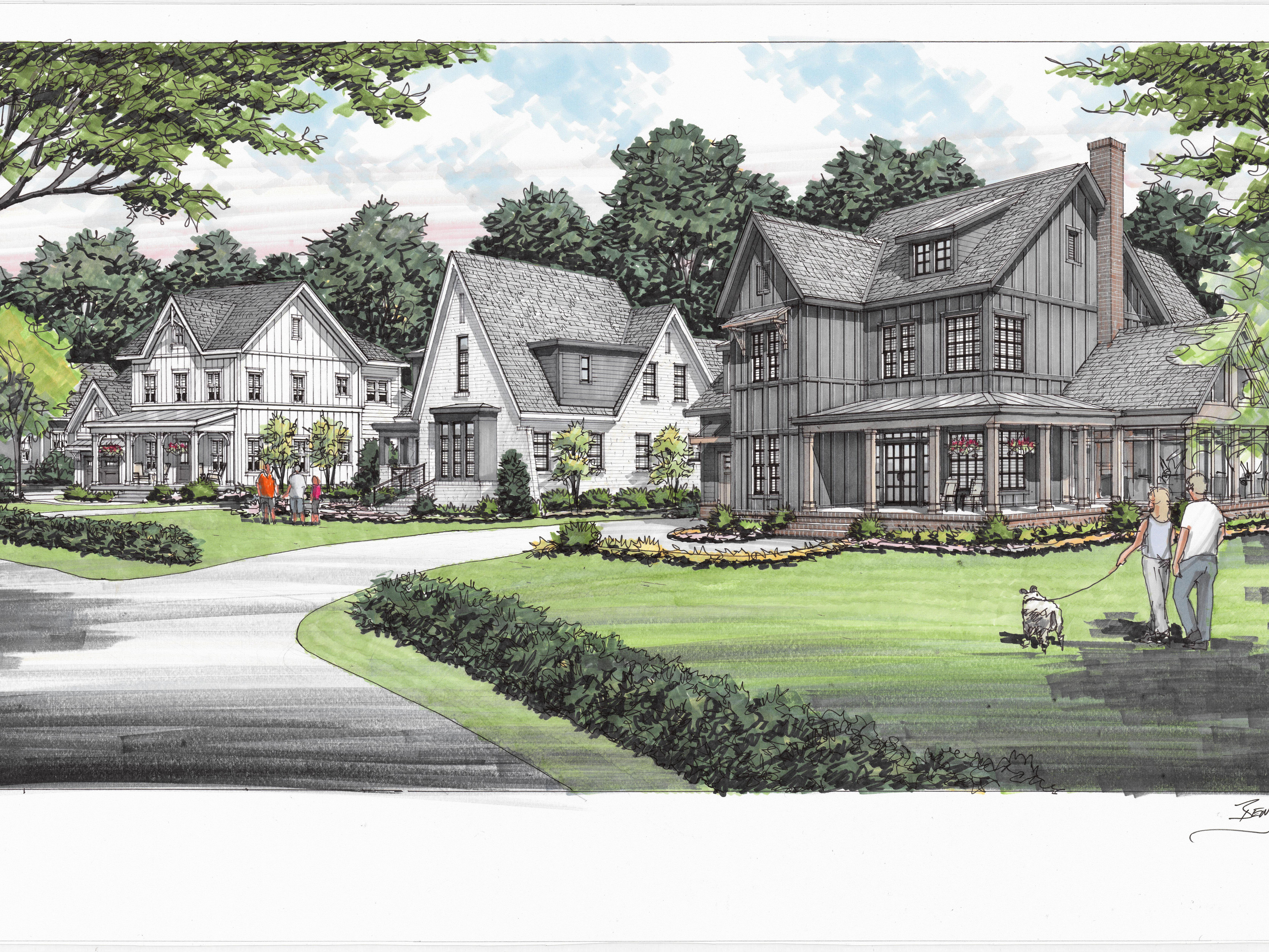 This rendering of Nature's Landing in Franklin shows Carbine and Associates' black farmhouse that will sit among more traditional white homes.