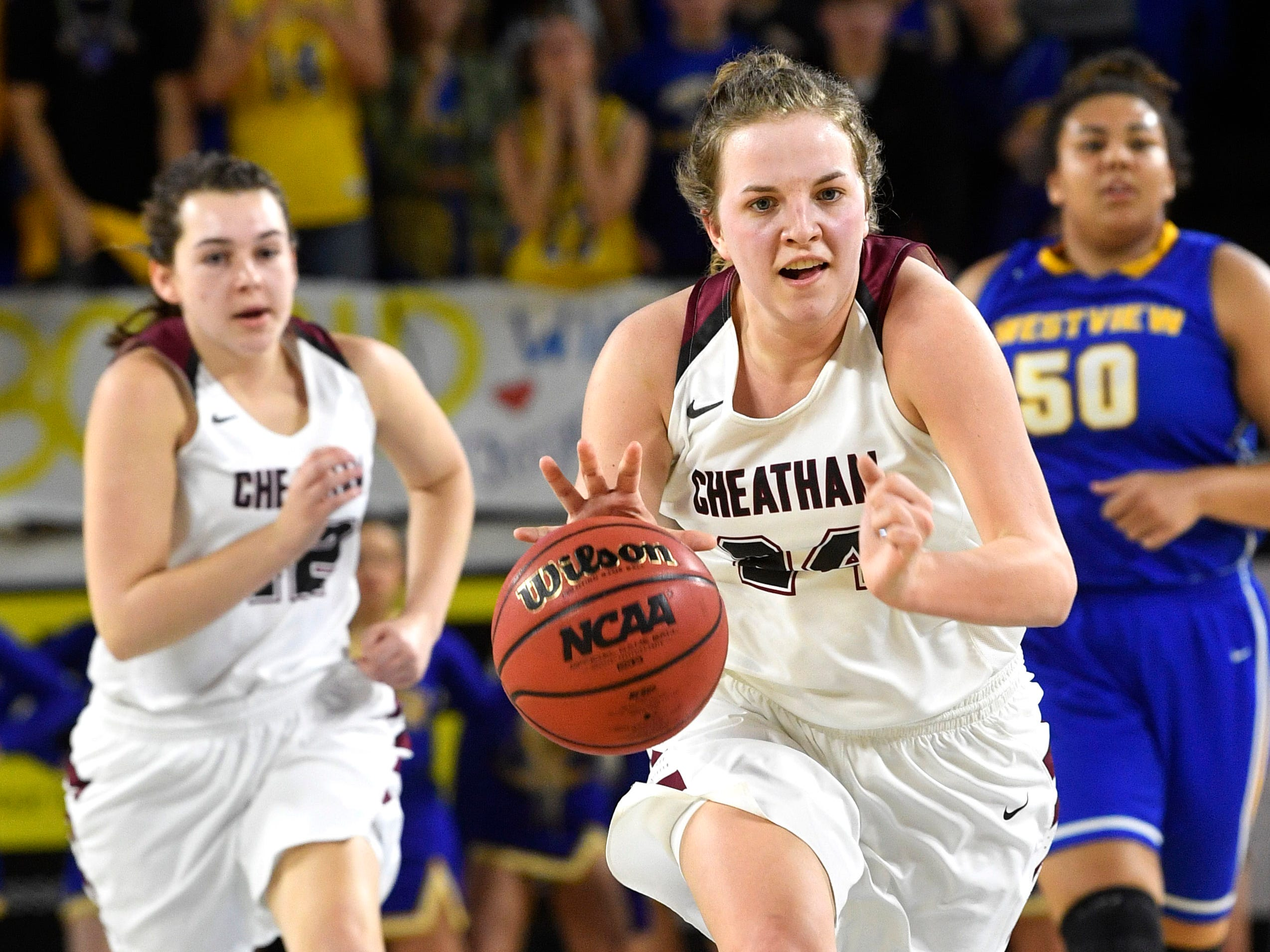 Cheatham County's Alli Douglas (24) takes the ball down the court As Cheatham County plays Westview in the Class AA Championship Saturday, March 9, 2019, in Murfreesboro, Tenn.