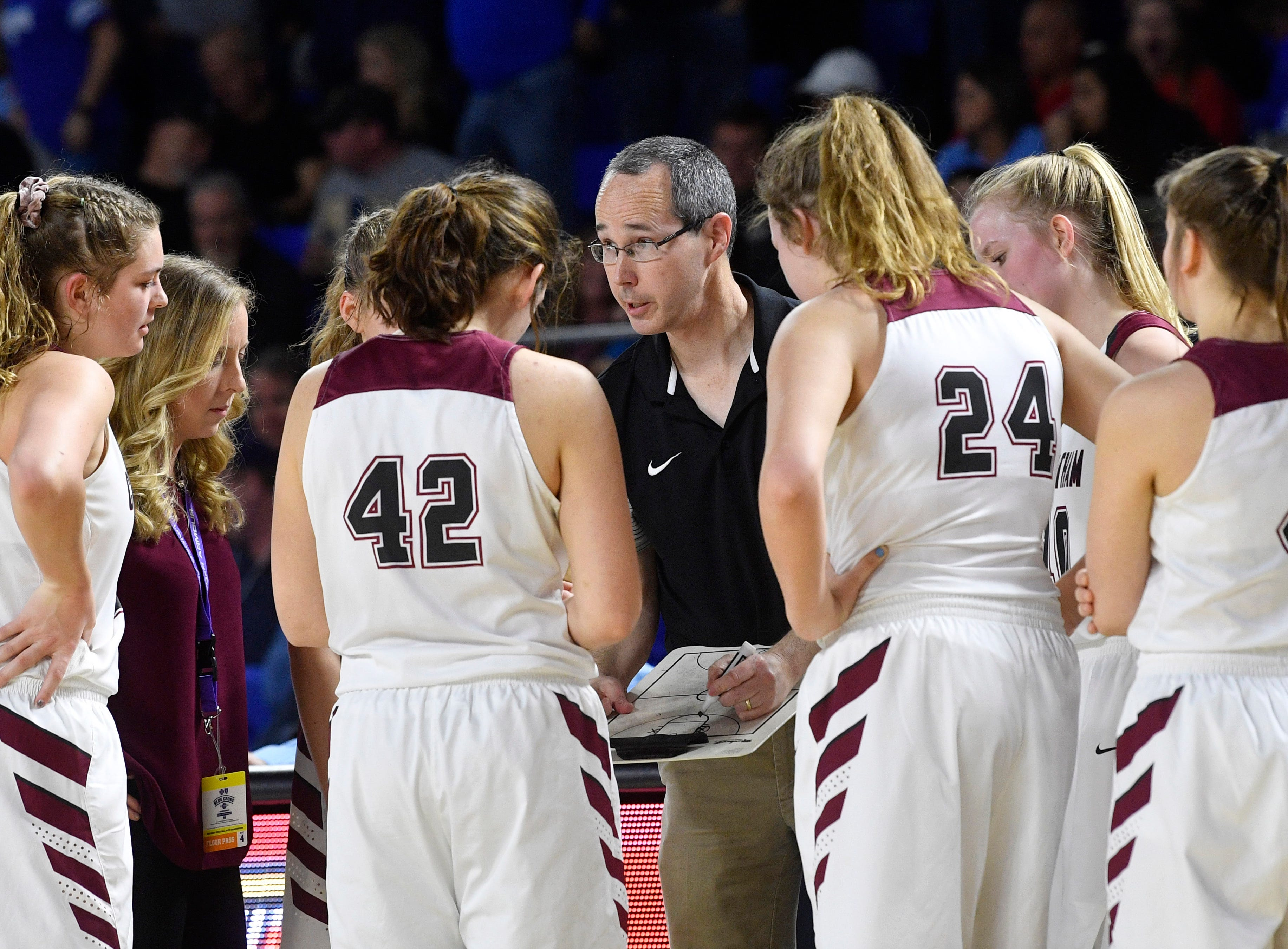 Cheatham County Coach Jim Gibbs talks with is team during a time out as Cheatham County plays Westview in the Class AA Championship Saturday, March 9, 2019, in Murfreesboro, Tenn.