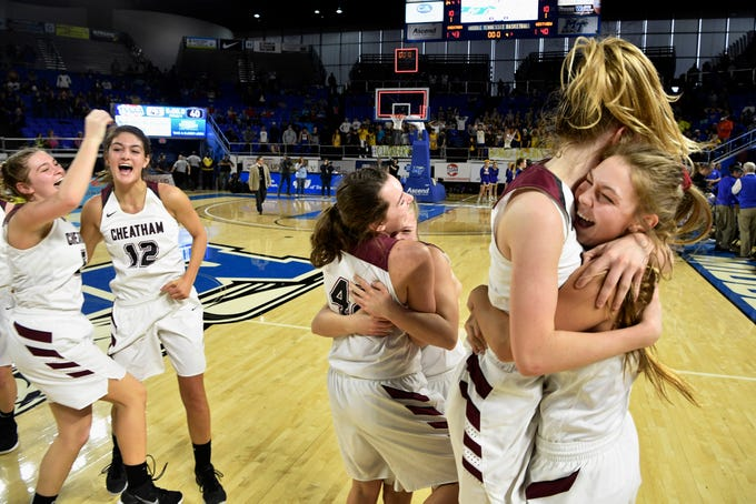 Cheatham County celebrates after defeated Westview 43-40 in the Class AA ChampionshipSaturday, March 9, 2019, in Murfreesboro, Tenn.