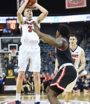Belmont's Dylan Windler (3) puts up a shot against Austin Peay in the semifinals of the OVC tournament Friday night at the Ford Center in Evansville, Ind.
