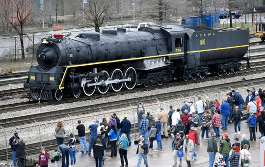 Nashville's steam locomotive No. 576 made a stop at Union Station on Saturday, March 9, 2019 on its route to the Tennessee Central Railway Museum to undergo a complete restoration.