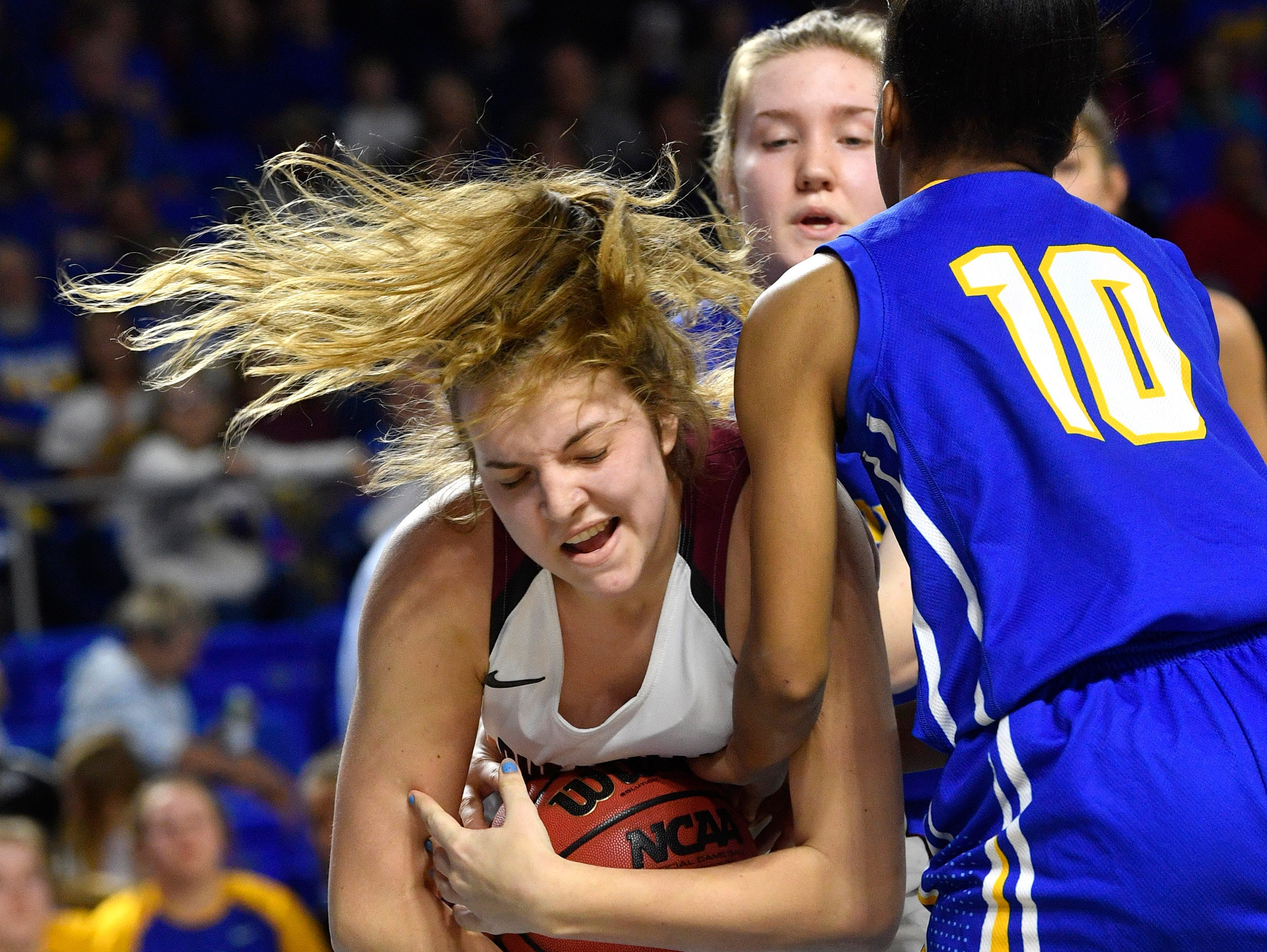 Cheatham County's Alli Douglas (24) fights for a recount as Cheatham County plays Westview in the Class AA Championship Saturday, March 9, 2019, in Murfreesboro, Tenn.