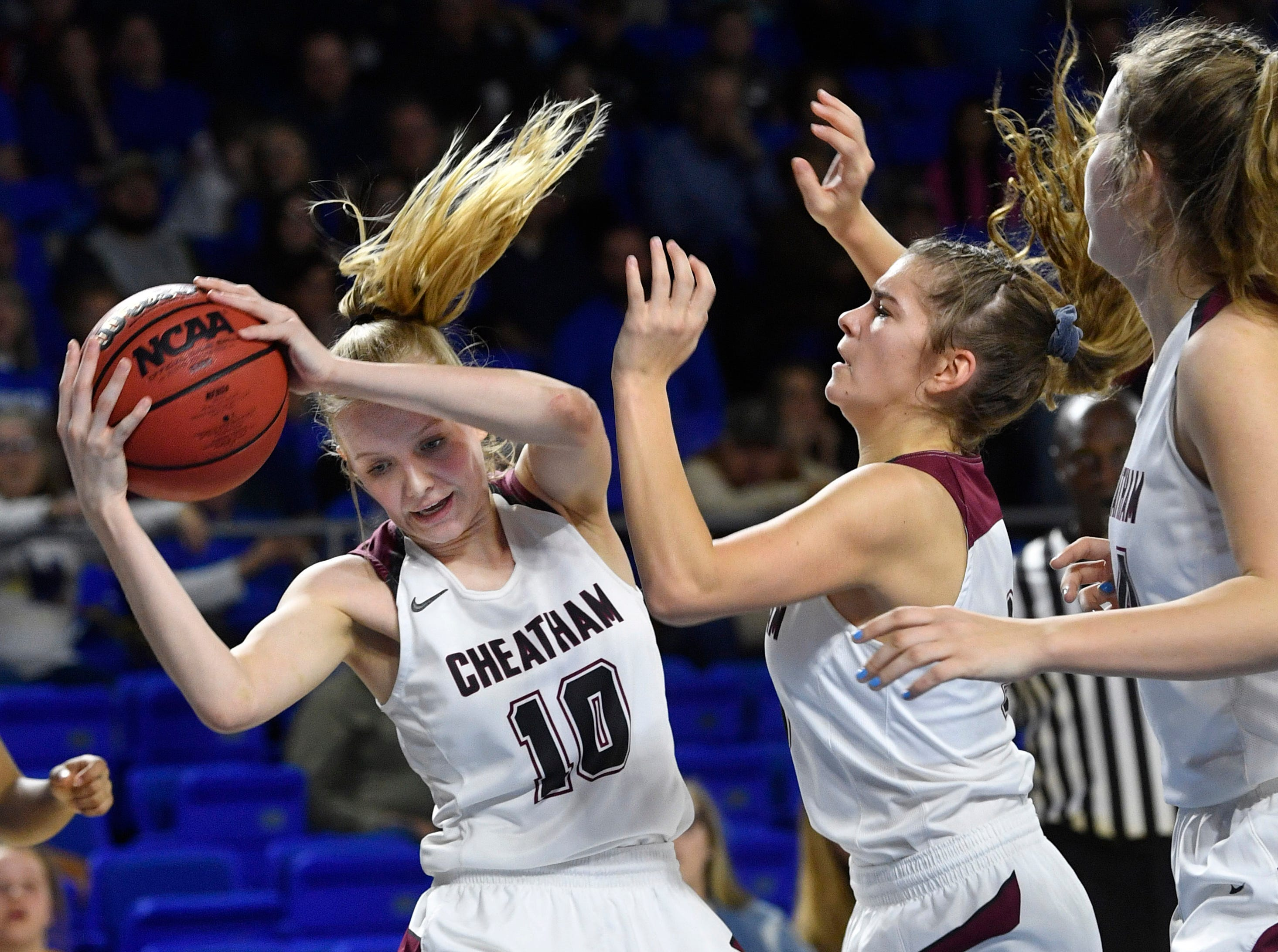 Cheatham County's Abbi Douglas (10) comes down with the rebound as Cheatham County plays Westview in the Class AA Championship Saturday, March 9, 2019, in Murfreesboro, Tenn.