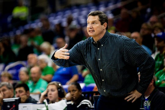 FGCU head coach Karl Smesko yells to his players during a quarterfinal game of the Atlantic Sun Conference WomenÕs Basketball Tournament against New Jersey Institute of Technology at Alico Arena at FGCU in Fort Myers on Friday, March 8, 2019.