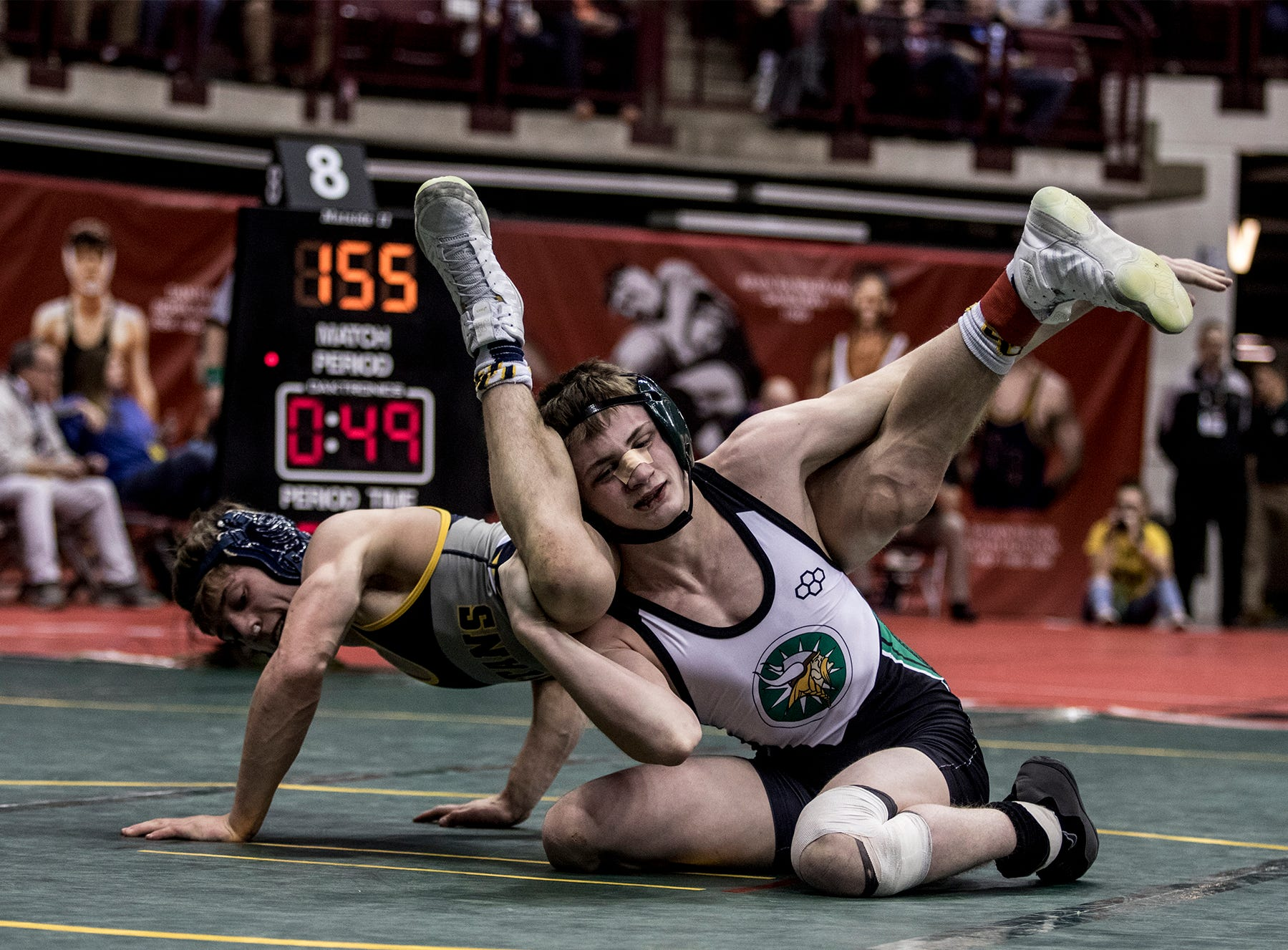 Klay Reeves  of Crestview, wrestles in the Division III 132 weight class at the state wrestling tournament Saturday.