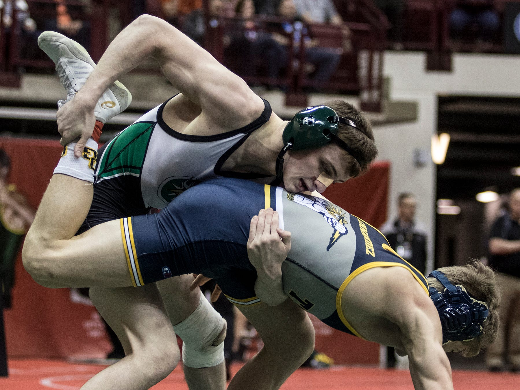 Northridge's Klay Reeves wrestles in the Division III 132 weight class at the state wrestling tournament Saturday.