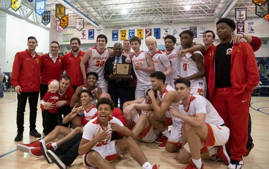 Bergen Catholic with their Non-Public A trophy. Bergen Catholic Boys Basketball defeats Camden Catholic in Non-Public A Final in Toms River, NJ on March 9, 2019.
