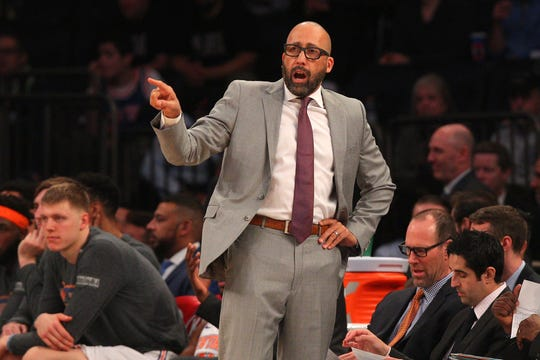 New York Knicks head coach David Fizdale reacts during the second quarter against the Sacramento Kings at Madison Square Garden.