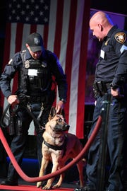 K9 Operation Red Carpet at Bethany Community Center in Washington Township on Saturday, March 9, 2019. (left) Paterson Police Officer Novar Vidal  and Sgt. Ryan Curving with Simpson.