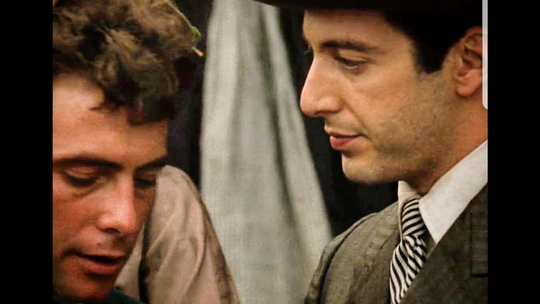 "Gianni Russo, Al Pacino in ""The Godfather"""