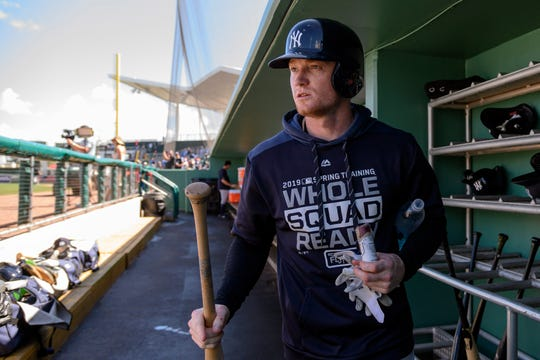 New York Yankees left fielder Clint Frazier (77) prepares for batting practice prior to the game between the Boston Red Sox and the New York Yankees at JetBlue Park on Feb 23, 2019 in Fort Myers, Fla.
