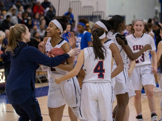 Saddle River Day players celebrate their Non-Public B championship. Saddle River Day girls basketball vs. Trenton Catholic in Non-Public B Final in Toms River, N.J. on March 9, 2019.