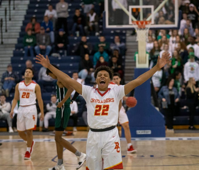 Sean Regis celelbrates as time runs down and Bergen Catholic wins its Non-Public A title.Bergen Catholic Boys Basketball defeats Camden Catholic in Non-Public A Final in Toms River, NJ on March 9, 2019.