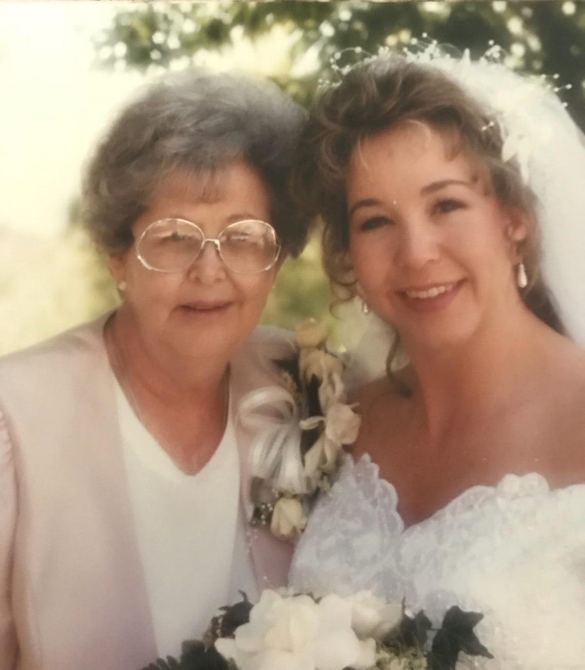 Nelda Brown, left, and her daughter, Wendee Lowe, are seen at Lowe's wedding.