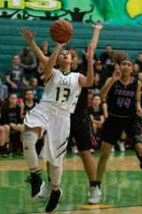 Mayfield's Raena Tesillo finds the basket for a lay up against Sandia in Friday's Class 5A NMAA state tournament at MHS.