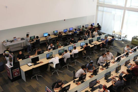 """The New Mexico State University Esports Association hosted a game day of """"Fortnite"""" in summer 2018 at the Hardman and Jacobs Undergraduate Learning Center with more than 100 participants."""