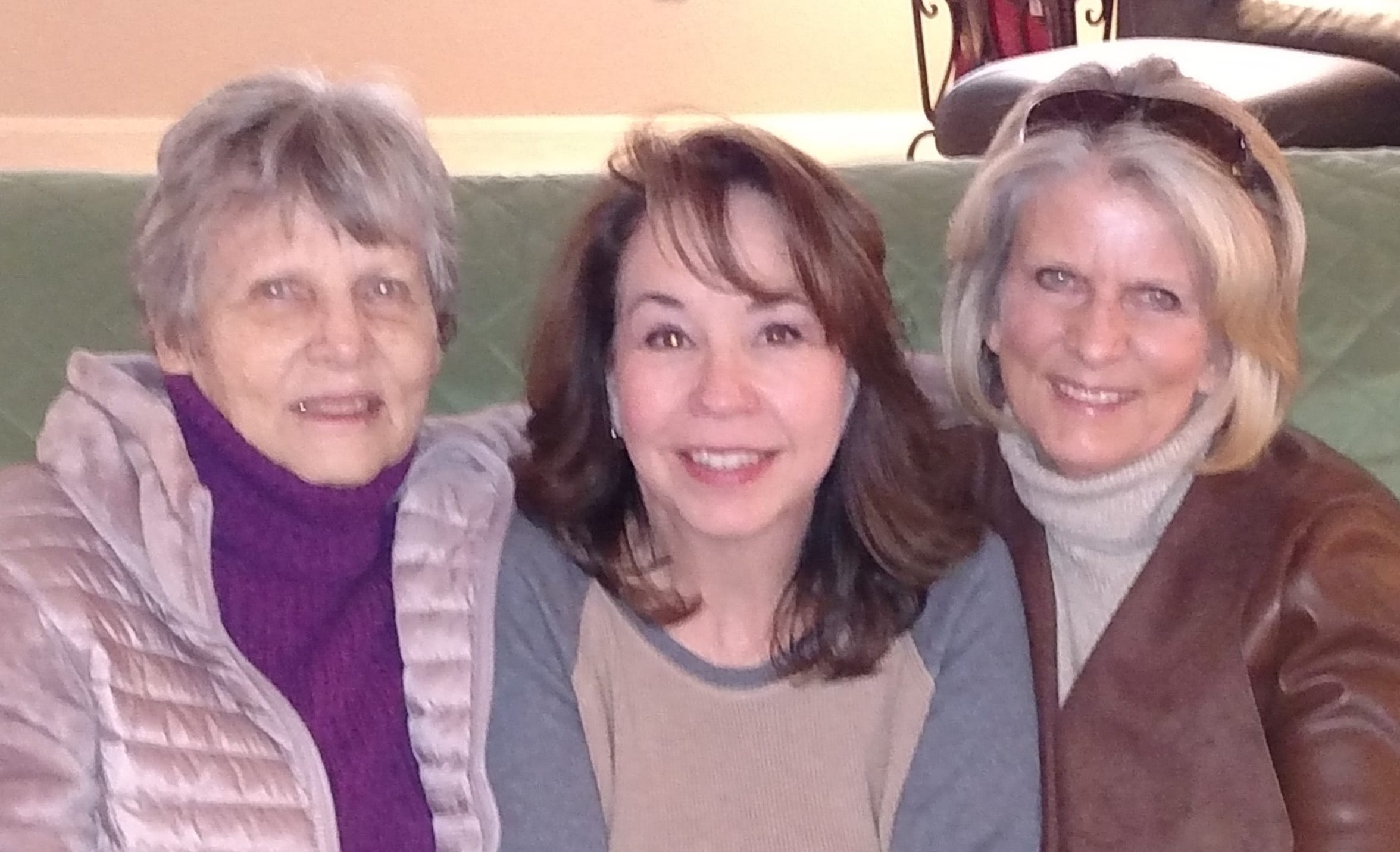 Loraine Gaines, left, Wendee Lowe, and Glenda Poling pose for a photo in January 2019 in Las Vegas, Nevada. It was the first trip in which Gaines and Poling met Lowe, their niece, since discovering they were related to her.