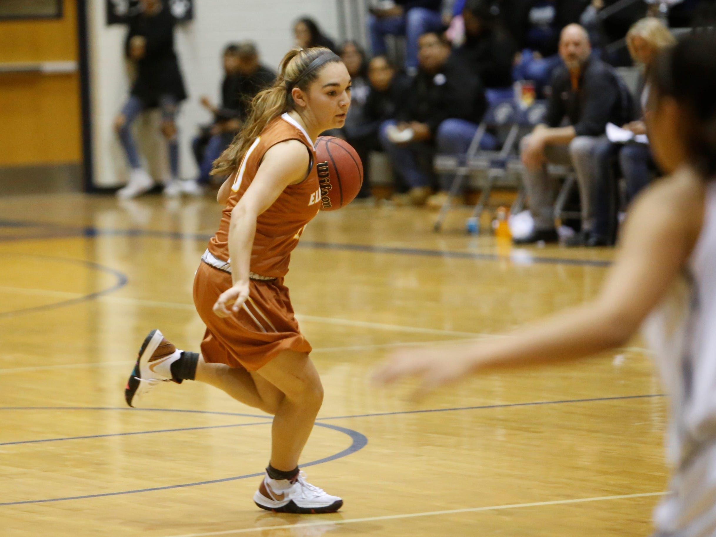 Eldorado's Laney Lucero dribbles toward the middle lane against Piedra Vista during Friday's 5A playoff opener at Jerry A. Conner Fieldhouse in Farmington.