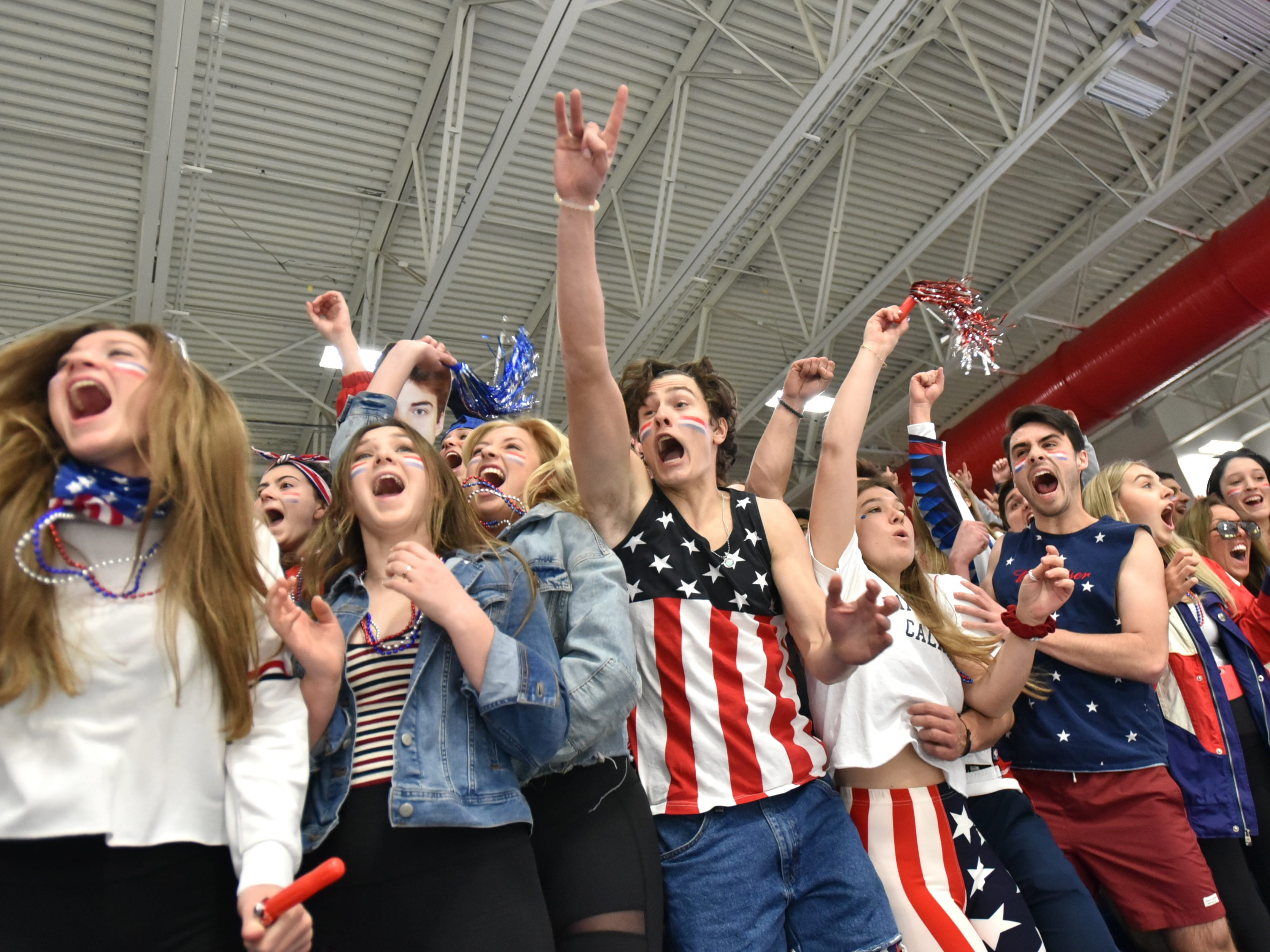 Detroit Country Day hockey fans celebrate the teams' first goal against Houghton on March 9, 2019 at USA Hockey Arena in Plymouth, MI.