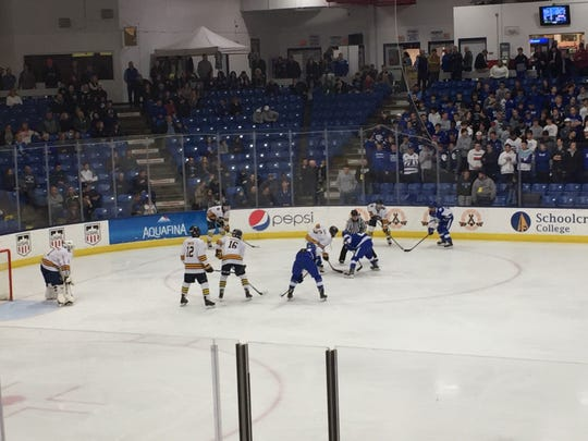 Catholic Central and Rochester United get ready for a face off in the state semifinals at USA Hockey Arena in Plymouth, MI on March 8, 2019.
