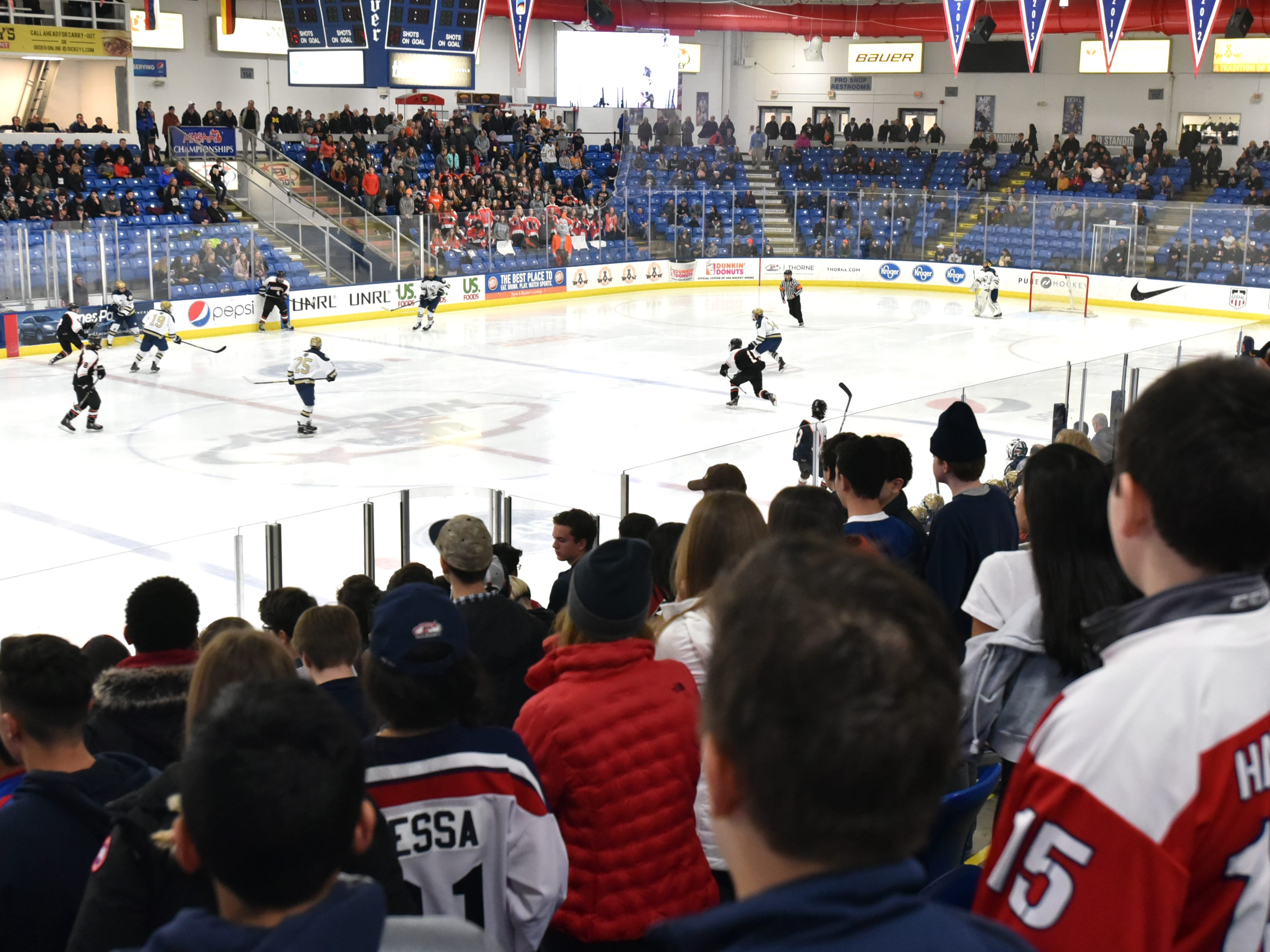 Houghton and Country Day played their championship game at USA Hockey Arena in Plymouth, MI.
