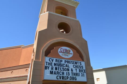"A marquee advertises the upcoming ""Chess"" musical at the new CVRep Playhouse in Cathedral City."