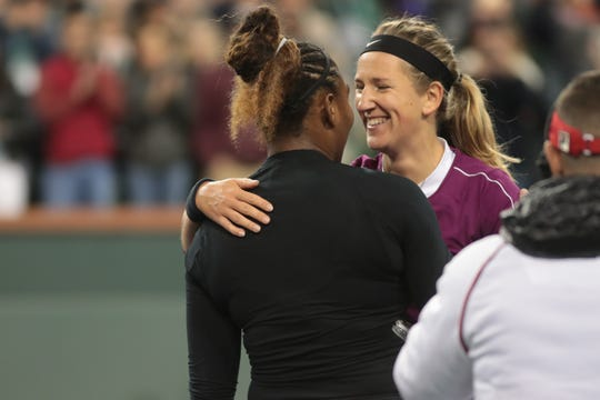 Victoria Azarenka congratulates Serena Williams after losing to her in a match at the BNP Paribas Open, Indian Wells, Calif., March 8, 2019.