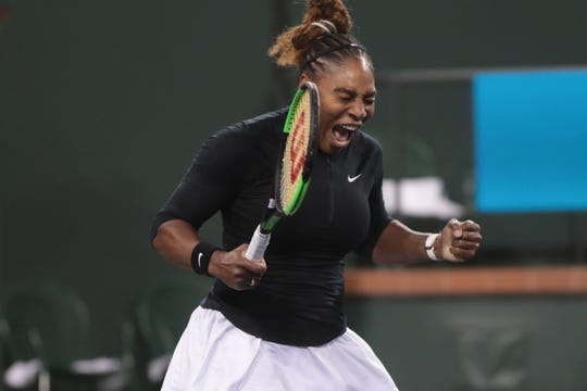 Serena Williams reacts after winning the first set of her match against  Victoria Azarenka at the BNP Paribas Open, Indian Wells, Calif., March 8, 2019.