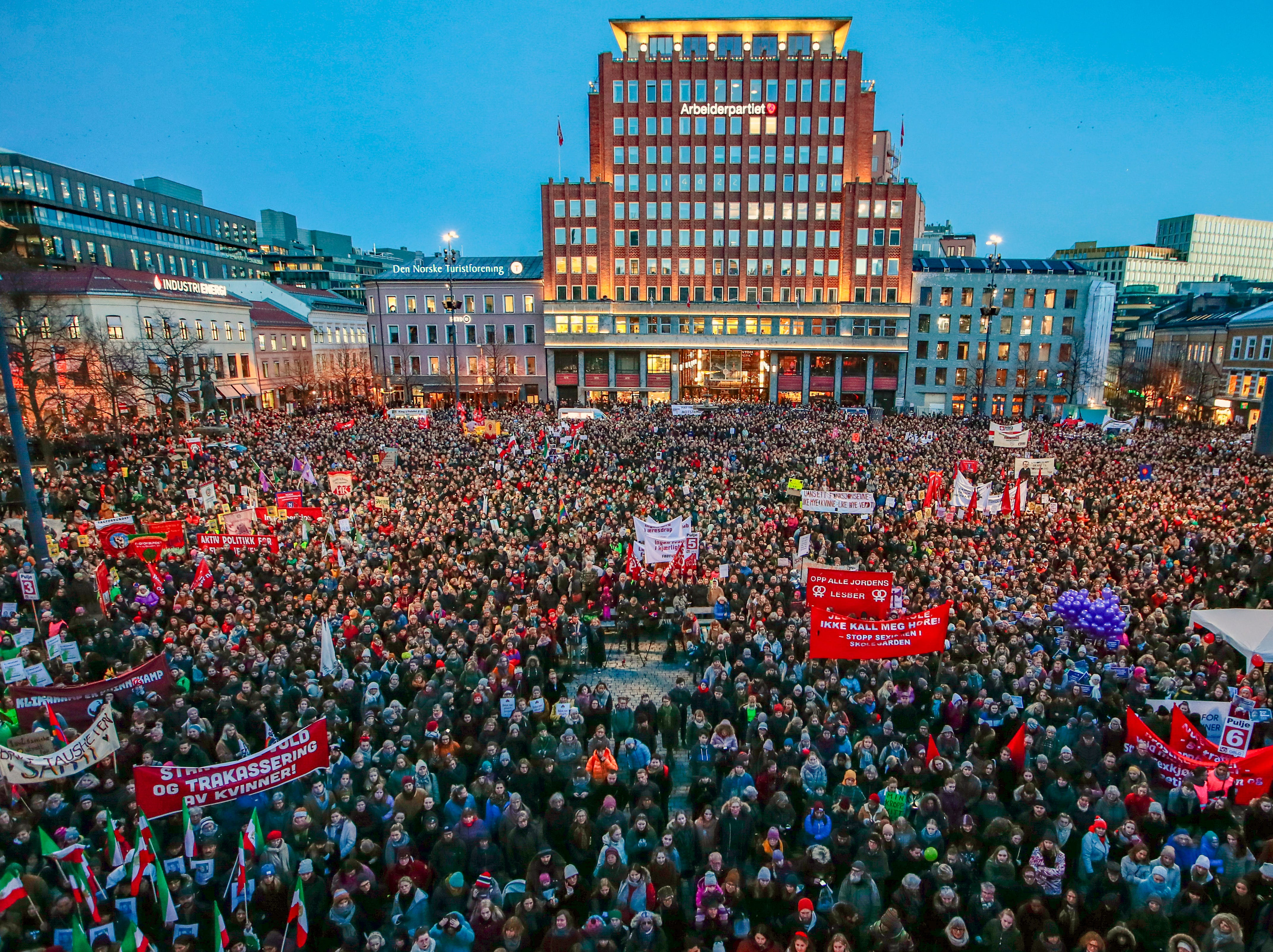 Several thousand people gather to take part in demonstration on International Women's Day in Oslo, Friday, March 8, 2019. (Hakon Mosvold Larsen/NTB Scanpix via AP)