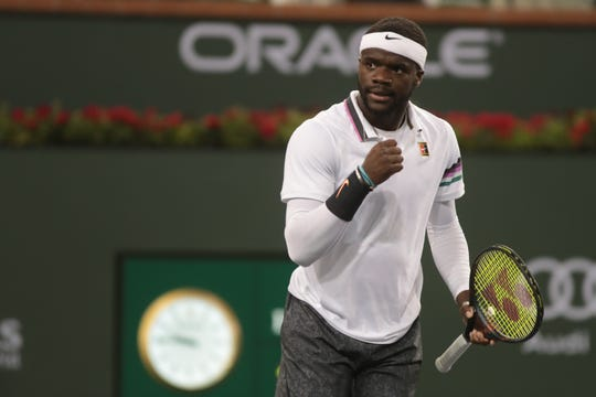 Frances Tiafoe reacts after winning a point against Nicolas Jarry at the BNP Paribas Open, Indian Wells, Calif., March 8, 2019.