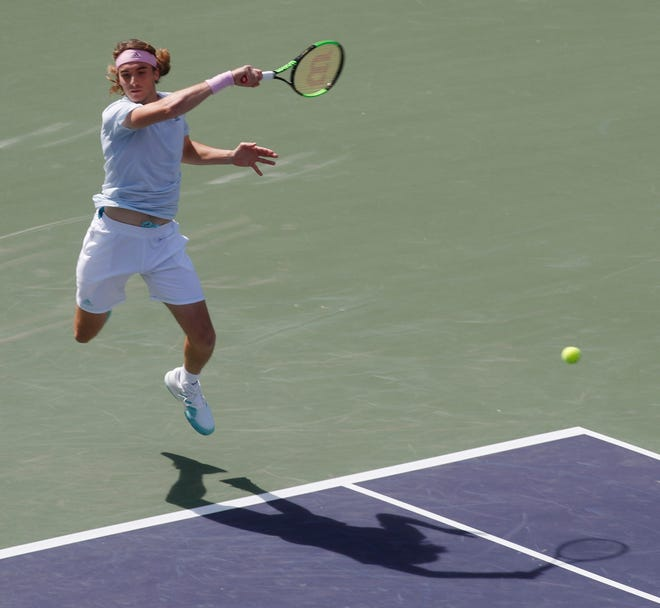 Stefanos Tsitsipas of Greece, shown here in 2019 at Indian Wells, will be a player looking for a breakthrough this year at the BNP Paribas Open.