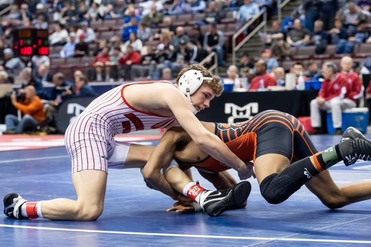 Bermudian Springs' Trenton Harder, left, wrestles Sharon's Sully Allen during the PIAA 2A 152-pound 5th-place bout at the Giant Center in Hershey Saturday, March 9, 2019. Allen won by fall 4:36.