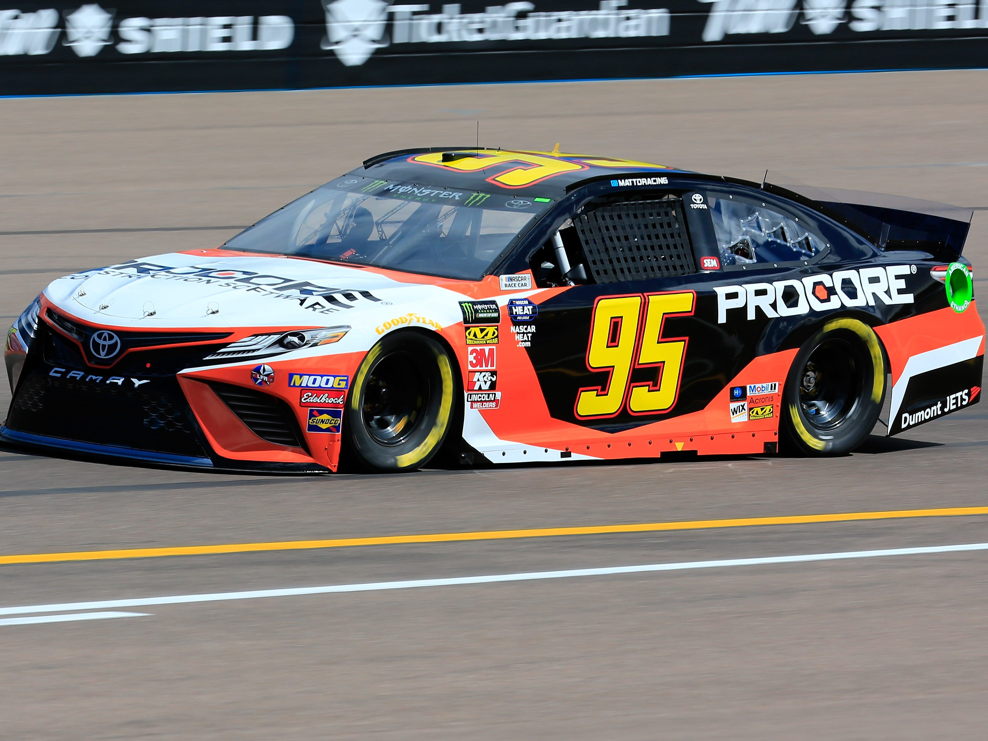 AVONDALE, AZ - MARCH 08: Matt DiBenedetto, driver of the #95 Procore Toyota, practices for the Monster Energy NASCAR Cup Series TicketGuardian 500 at ISM Raceway on March 8, 2019 in Avondale, Arizona.