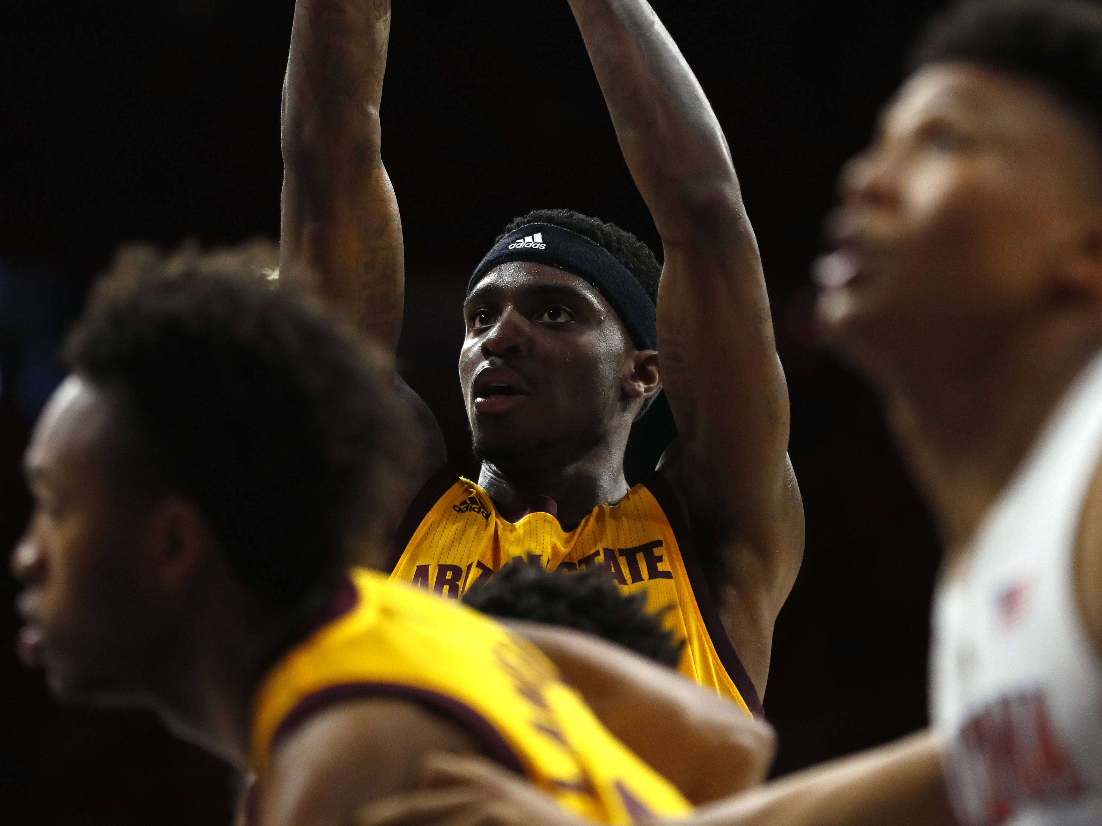 ASU's Zylan Cheatham (45) shoots a free throw during the second half against Arizona at the McKale Memorial Center in Tucson, Ariz. on March 9, 2019.