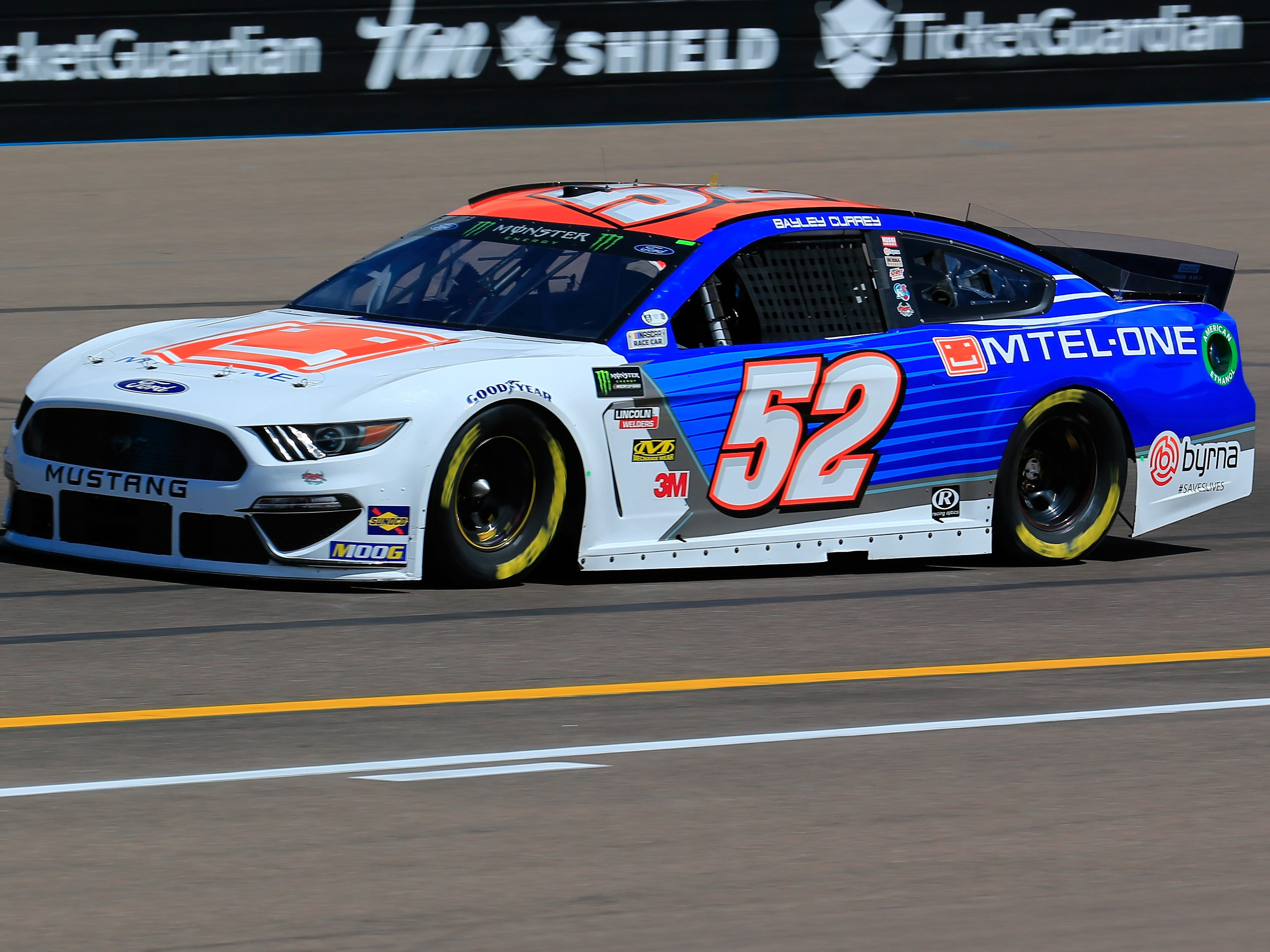 AVONDALE, AZ - MARCH 08: Bayley Currey, driver of the #52 Mtel-One Ford, practices for the Monster Energy NASCAR Cup Series TicketGuardian 500 at ISM Raceway on March 8, 2019 in Avondale, Arizona.