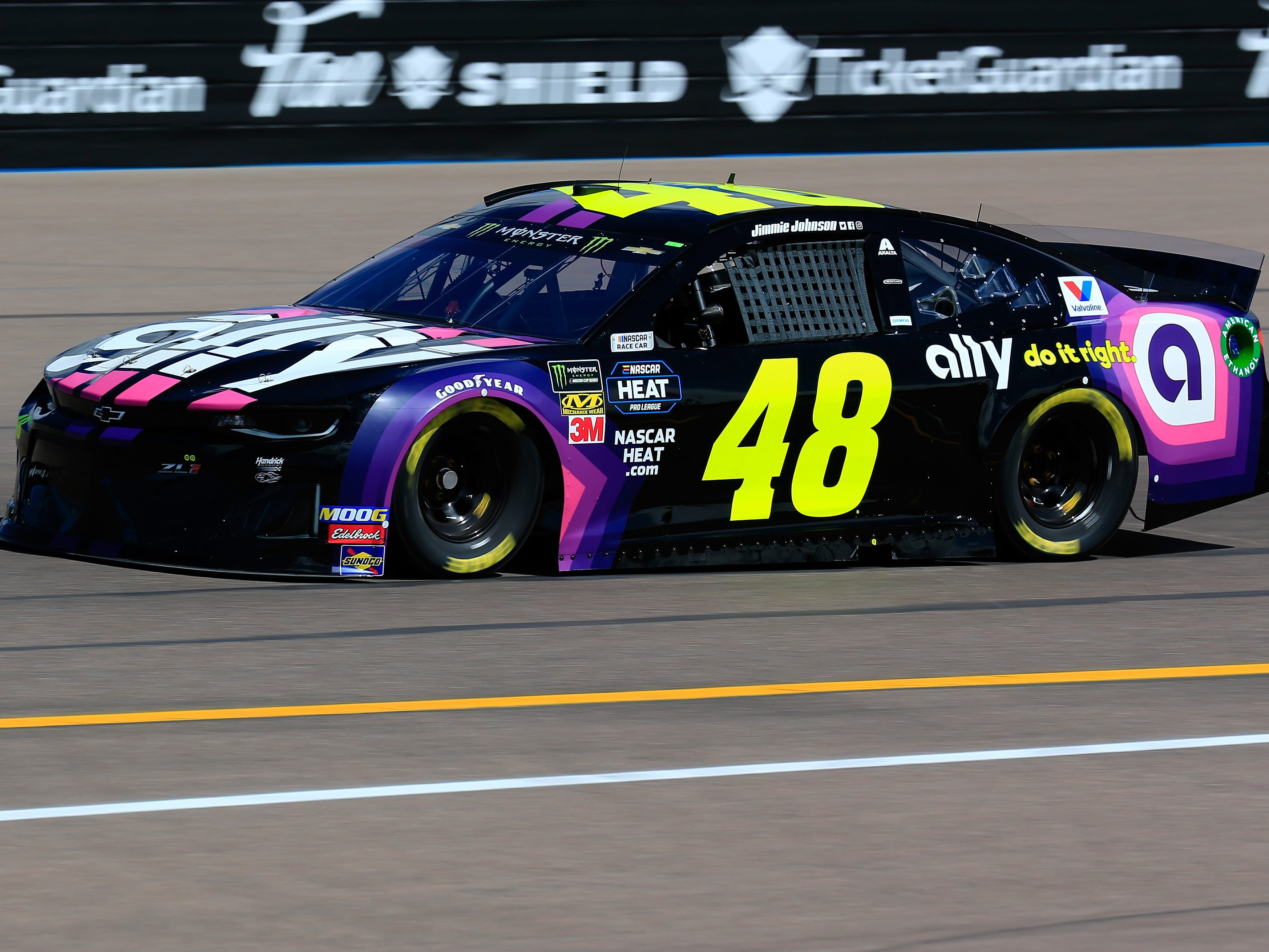 AVONDALE, AZ - MARCH 08: Jimmie Johnson, driver of the #48 Ally Chevrolet, practices for the Monster Energy NASCAR Cup Series TicketGuardian 500 at ISM Raceway on March 8, 2019 in Avondale, Arizona.