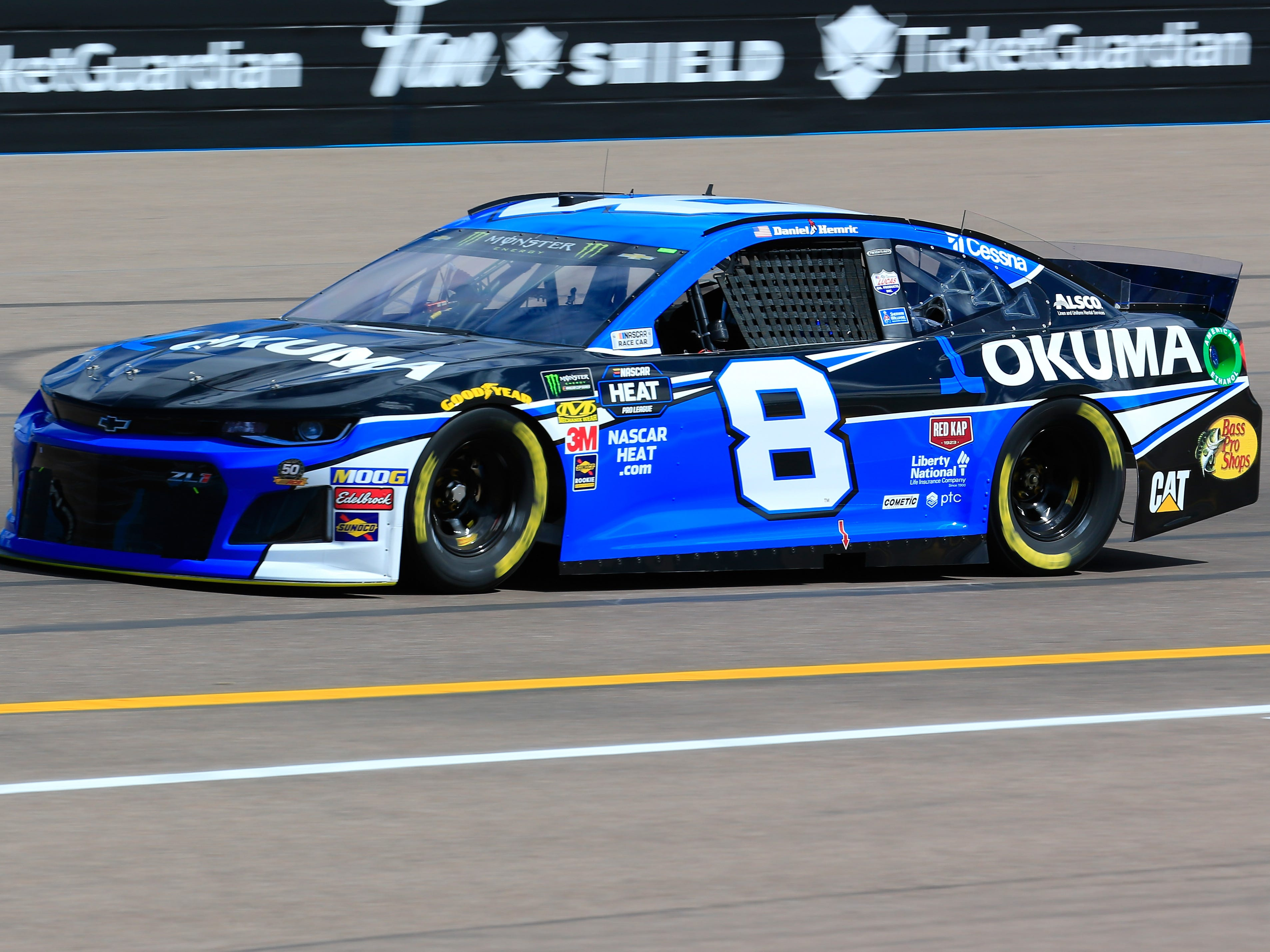 AVONDALE, AZ - MARCH 08: Daniel Hemric, driver of the #8 Okuma Chevrolet, practices for the Monster Energy NASCAR Cup Series TicketGuardian 500 at ISM Raceway on March 8, 2019 in Avondale, Arizona.