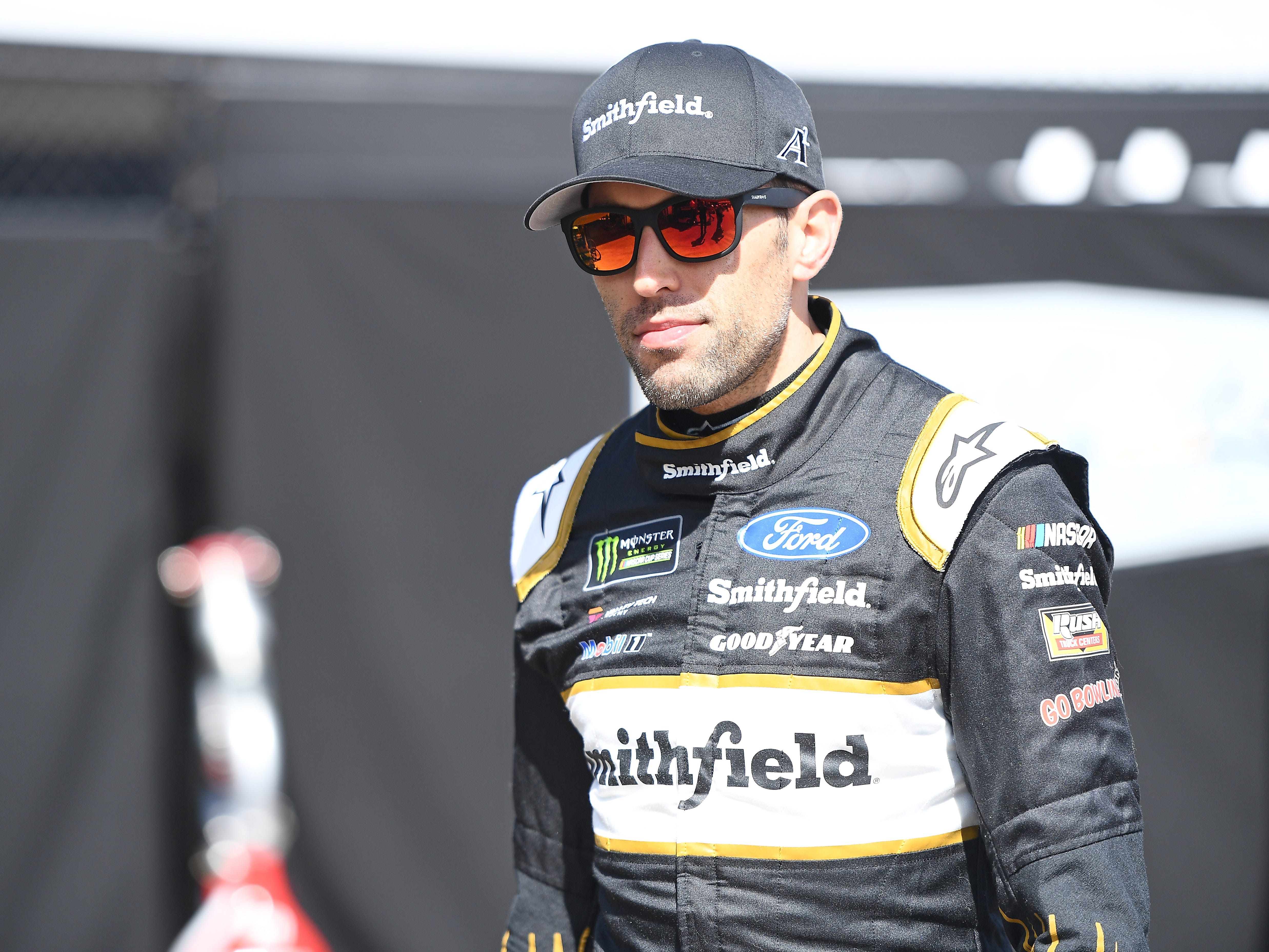 AVONDALE, AZ - MARCH 08:  Aric Almirola, driver of the #10 Smithfield Ford, walks his car during practice for the Monster Energy NASCAR Cup Series TicketGuardian 500 at ISM Raceway on March 8, 2019 in Avondale, Arizona.