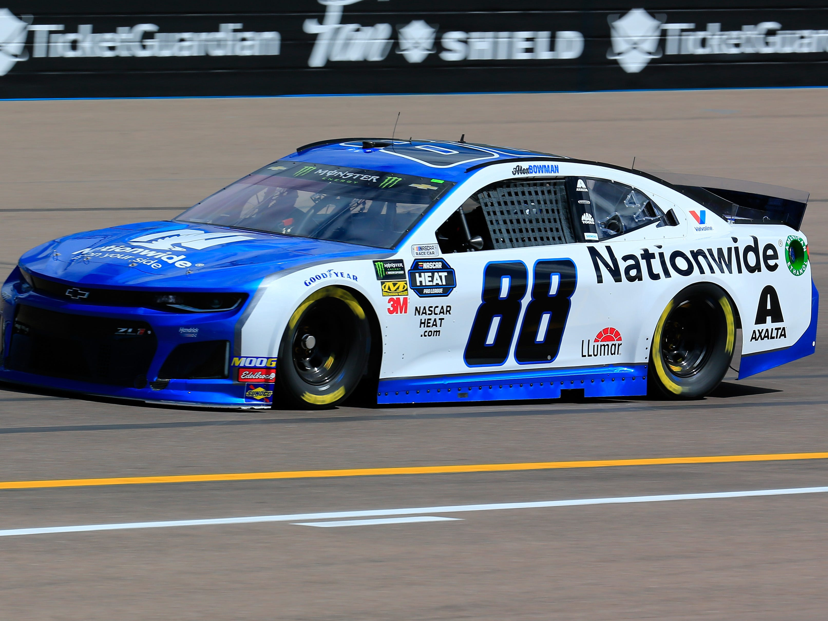 AVONDALE, AZ - MARCH 08: Alex Bowman, driver of the #88 Nationwide Chevrolet, practices for the Monster Energy NASCAR Cup Series TicketGuardian 500 at ISM Raceway on March 8, 2019 in Avondale, Arizona.