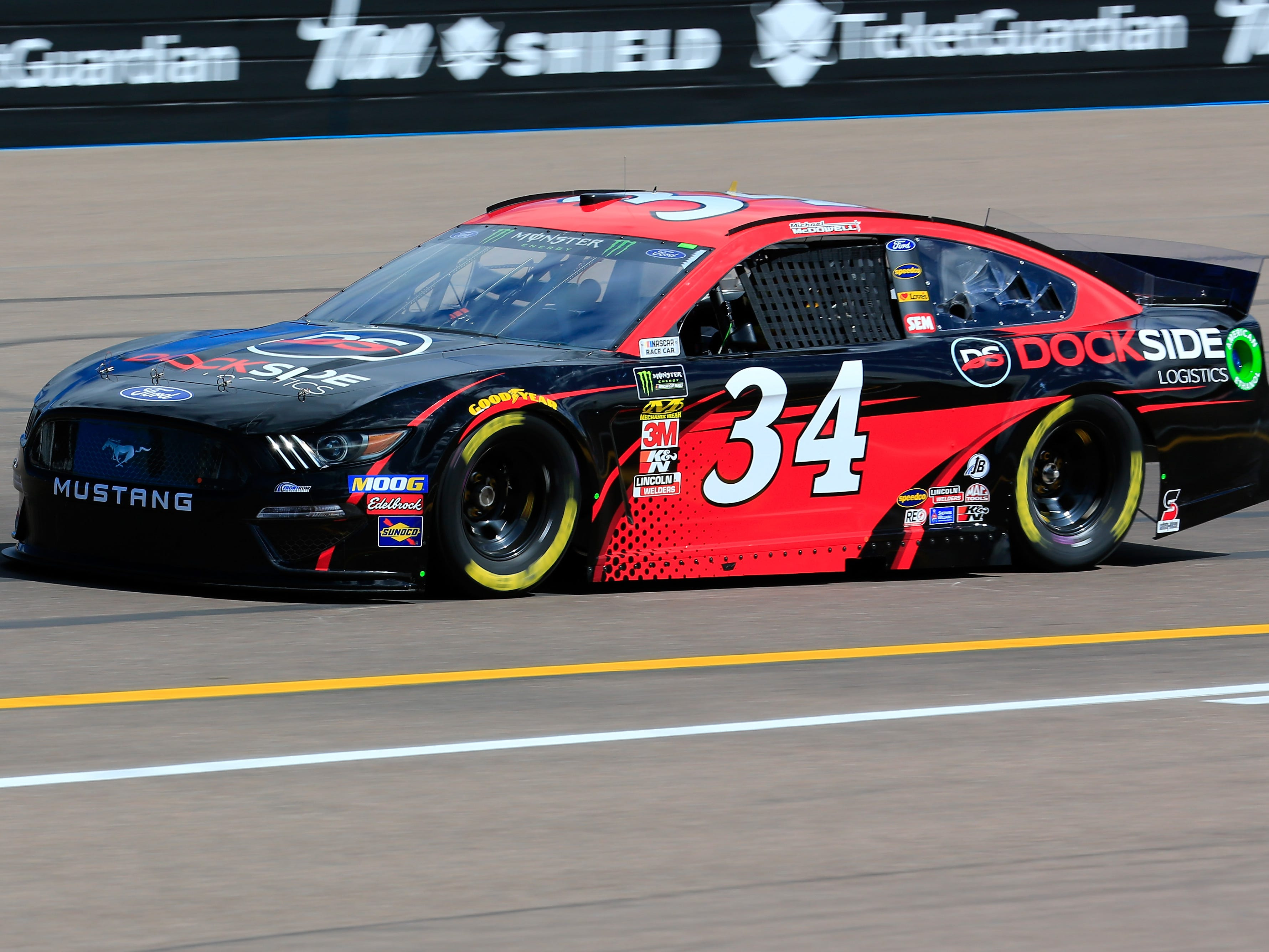 AVONDALE, AZ - MARCH 08: Michael McDowell, driver of the #34 Dockside Logistics Ford, practices for the Monster Energy NASCAR Cup Series TicketGuardian 500 at ISM Raceway on March 8, 2019 in Avondale, Arizona.