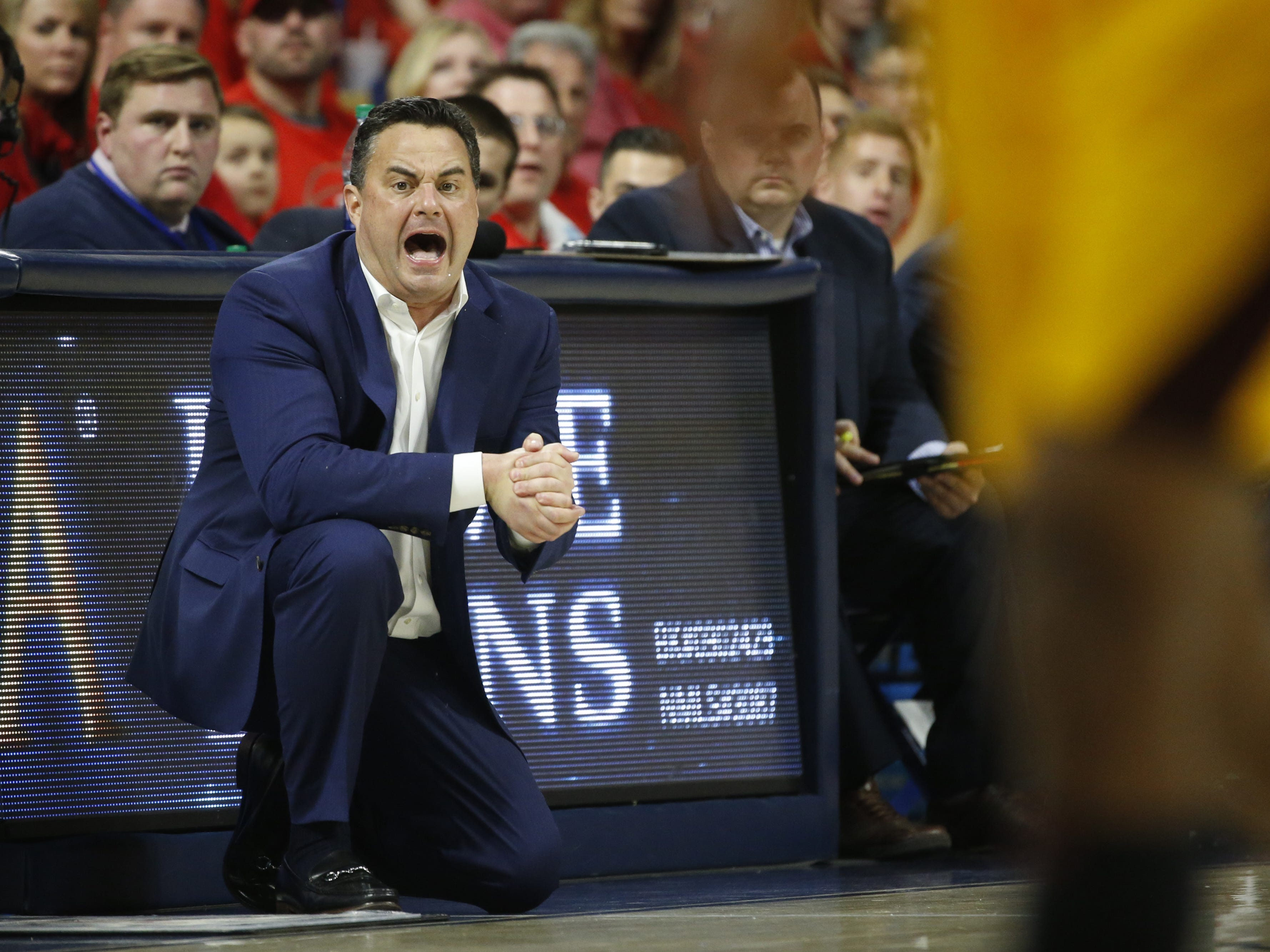 Arizona's head coach Sean Miller yells to his team as they play ASU during the first half at the McKale Memorial Center in Tucson, Ariz. on March 9, 2019.