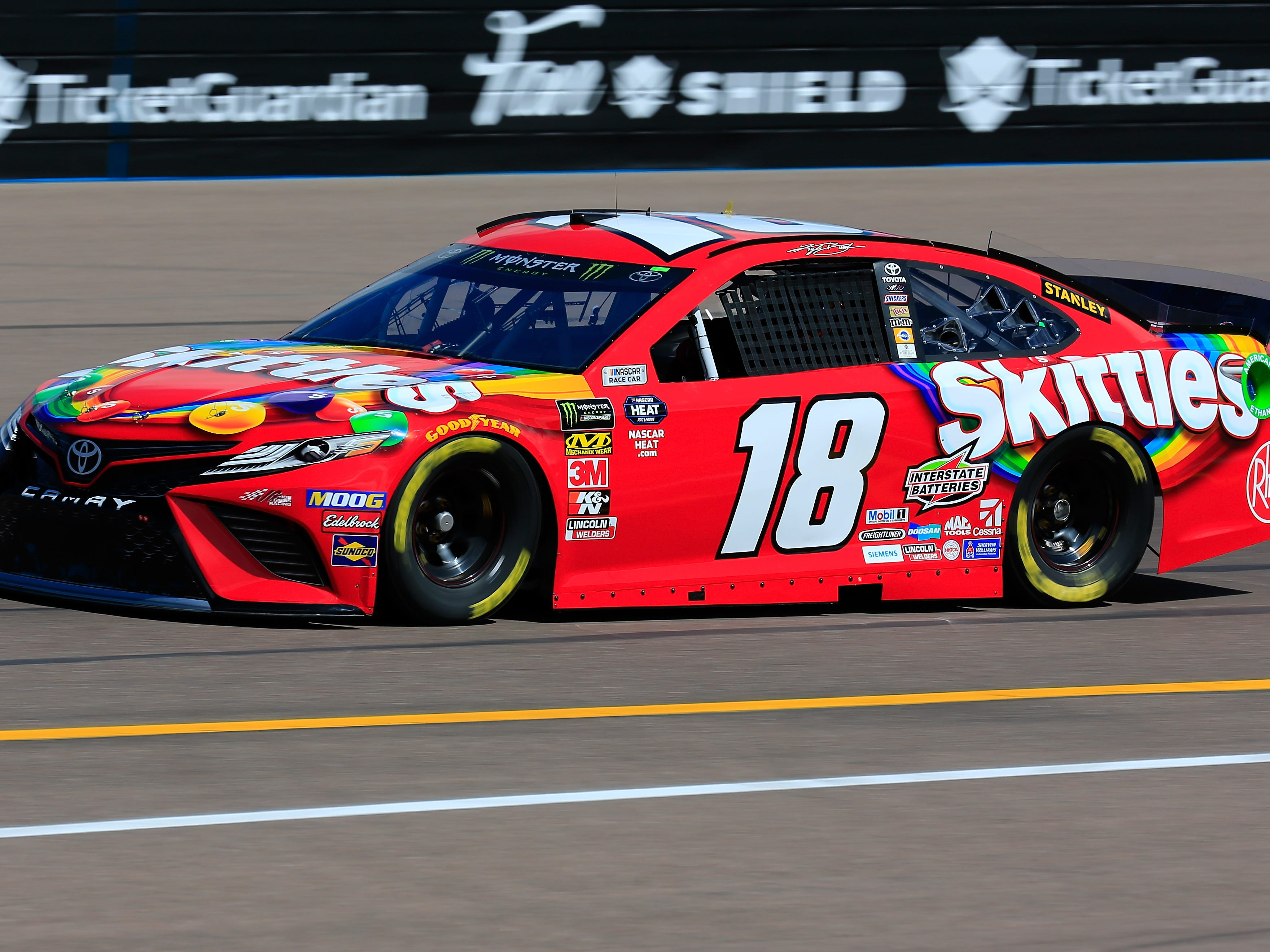 AVONDALE, AZ - MARCH 08: Kyle Busch, driver of the #18 Skittles Toyota, practices for the Monster Energy NASCAR Cup Series TicketGuardian 500 at ISM Raceway on March 8, 2019 in Avondale, Arizona.