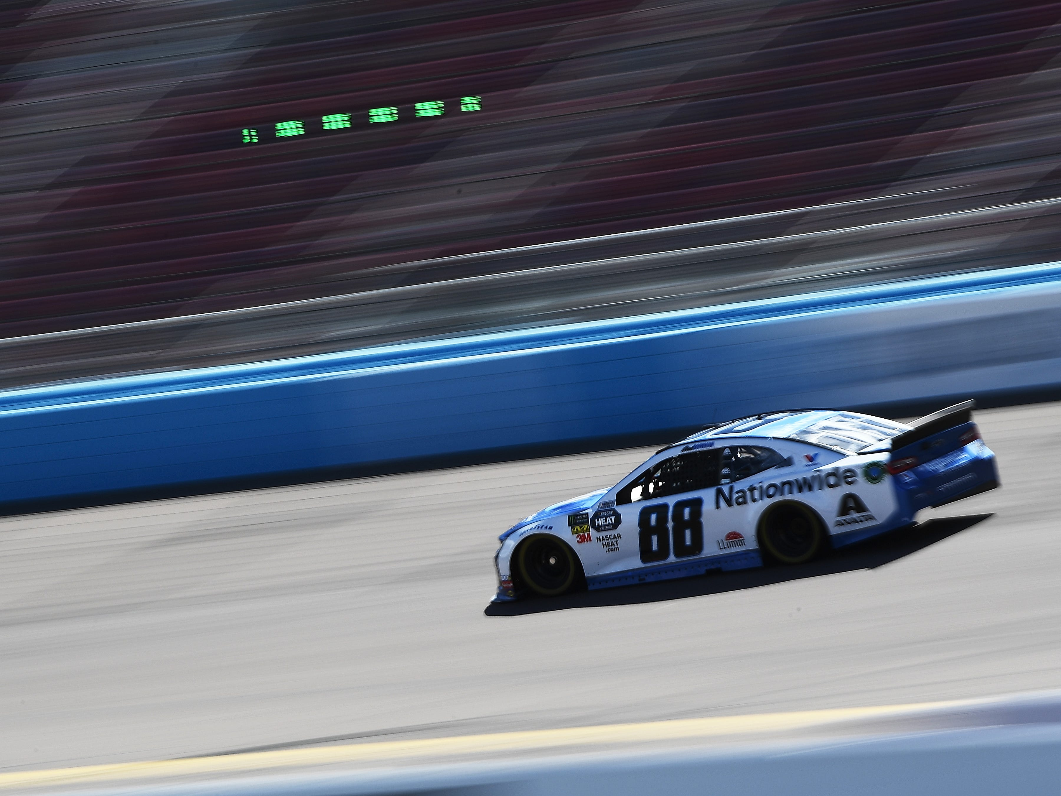 AVONDALE, AZ - MARCH 08:  Alex Bowman, driver of the #88 Nationwide Chevrolet, drives during practice for the Monster Energy NASCAR Cup Series TicketGuardian 500 at ISM Raceway on March 8, 2019 in Avondale, Arizona.